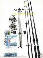 Sea Fishing Beachcaster Kit 14 Ft Fladen Rods Reels Tripod Weights Tackle Rigs