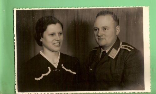 #B. POSTCARD OF WWII GERMAN SOLDIER & HIS WIFE