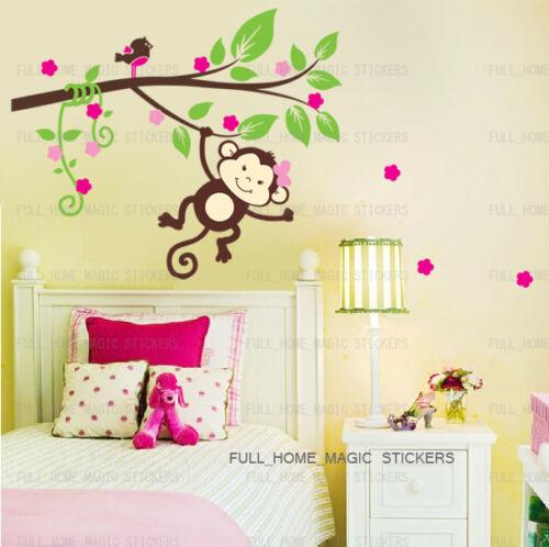 Monkey Tree Bird Girls Wall Sticker Art Decal Baby Kids Bedroom Nursery Decor