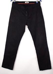 Acne Hommes Mec / Délavé Noir Décontracté Pantalon Extensible Taille W31 L32