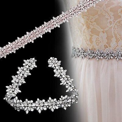 Strass Rand Kristall Braut Kleid Applikation Perlenbesetzt Motiv Blumen Hochzeit