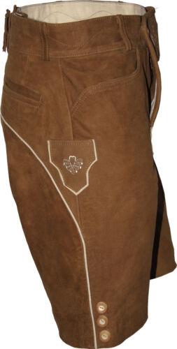Breve sportivo Lederhose Trachten pelle pantaloni con patta plattlerhose RICAMATI