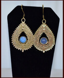Gold-Tone-Tear-Drop-Earrings-with-blue-stone-Handmade-Fashion-Jewelry-from-India