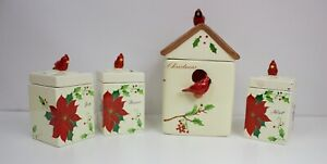 Set Of 4 Christmas Kitchen Canister Cookie Jar Cardinal Hobby Lobby Ebay