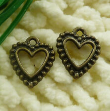 free ship 100 pieces Antique bronze heart charms 15x14mm #2264