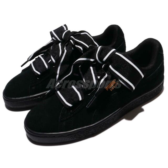 sale retailer 62839 17ac4 Puma Suede Heart Satin II Wns 2 Black White Suede Women Shoes Sneakers  36408-401