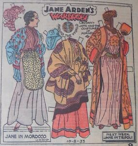 Jane Arden Sunday with Large Uncut Paper Doll from 10/8/1933 Full Size Page!