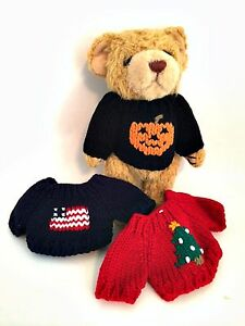 Plush-Bear-Halloween-Christmas-July-4th-Sweaters-Stuffed-Animal-8-5-inches-Tall