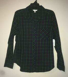 Time-And-Tru-Women-039-s-Long-Sleeve-Soft-Flannel-Button-Front-Shirt-Size-XL-16-18