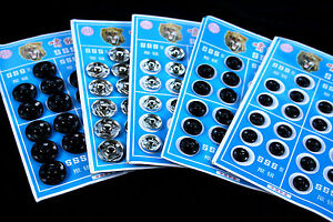 10 or 20 Silver or Black Metal Press Studs Snap Fasteners Closures 10 mm -15 mm