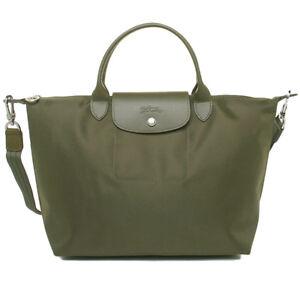 Longchamp Pliage verde Medium 1515578292 Autentica Le borsa Neo Khaki qZCt5T