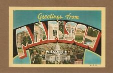 Madison,WI Wisconsin, views in Linen Large Letters,LLL with state capitol