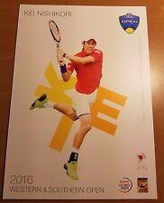 KEI NISHIKORI 5X7 2016 WESTERN & SOUTHERN ATP TENNIS TOURNAMENT COLLECTOR CARD