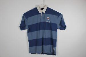 2b26e4db5 Vintage Bugle Boy Mens Polo Shirt Rugby Blue Striped 77 Logo Sz XL ...
