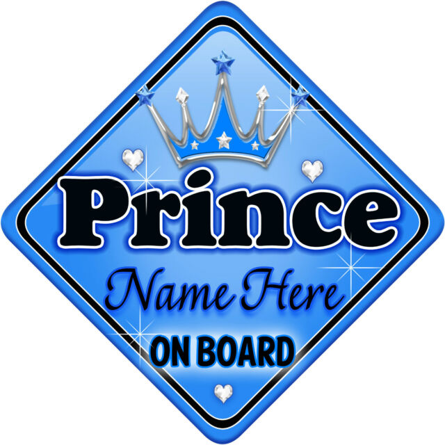 Crown Prince Leo On Board Personalised Baby Boy Car Sign