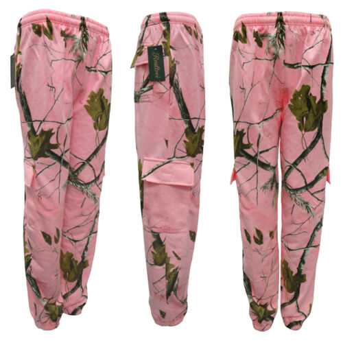 Ladies Pink Camouflage Tracksuit Realtree Forest Print Hoodie Jogger Camo S-2XL