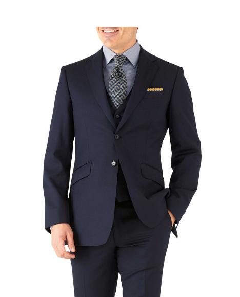 Charles Tyrwhitt Navy Herringbone Classic Fit Suit