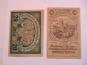 1920 Austria Notgelds (2) 20 Heller Gurten 50 Heller Grohl Paper Money Banknotes