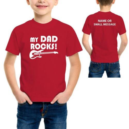 My Dad Rocks Personalised Kids boys Girls custom name Printed T-Shirt Tee 1
