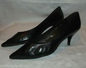 TRUE VINTAGE 50ER Jahre schwarze Leder Pumps Schuhe Gr. 7