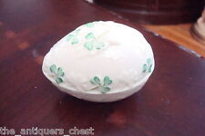 BELLEEK Blue mark Shamrock egg trinket jewlery box Ireland[1]