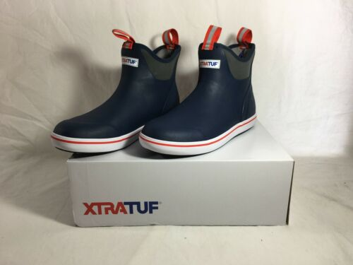Xtratuf Men's Ankle Deck Boot, Navy/Red, 10