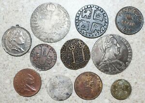 Lot of 11 1700's Foreign Tokens Play Money Museum Items Pot Metal Spain E India