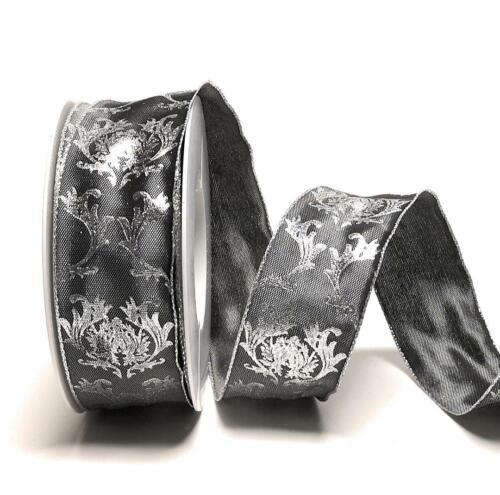 SCHLEIFENBAND 20m x 40mm schwarz silber ORNAMENT Dekoband Ornamentband 1m//0,50€