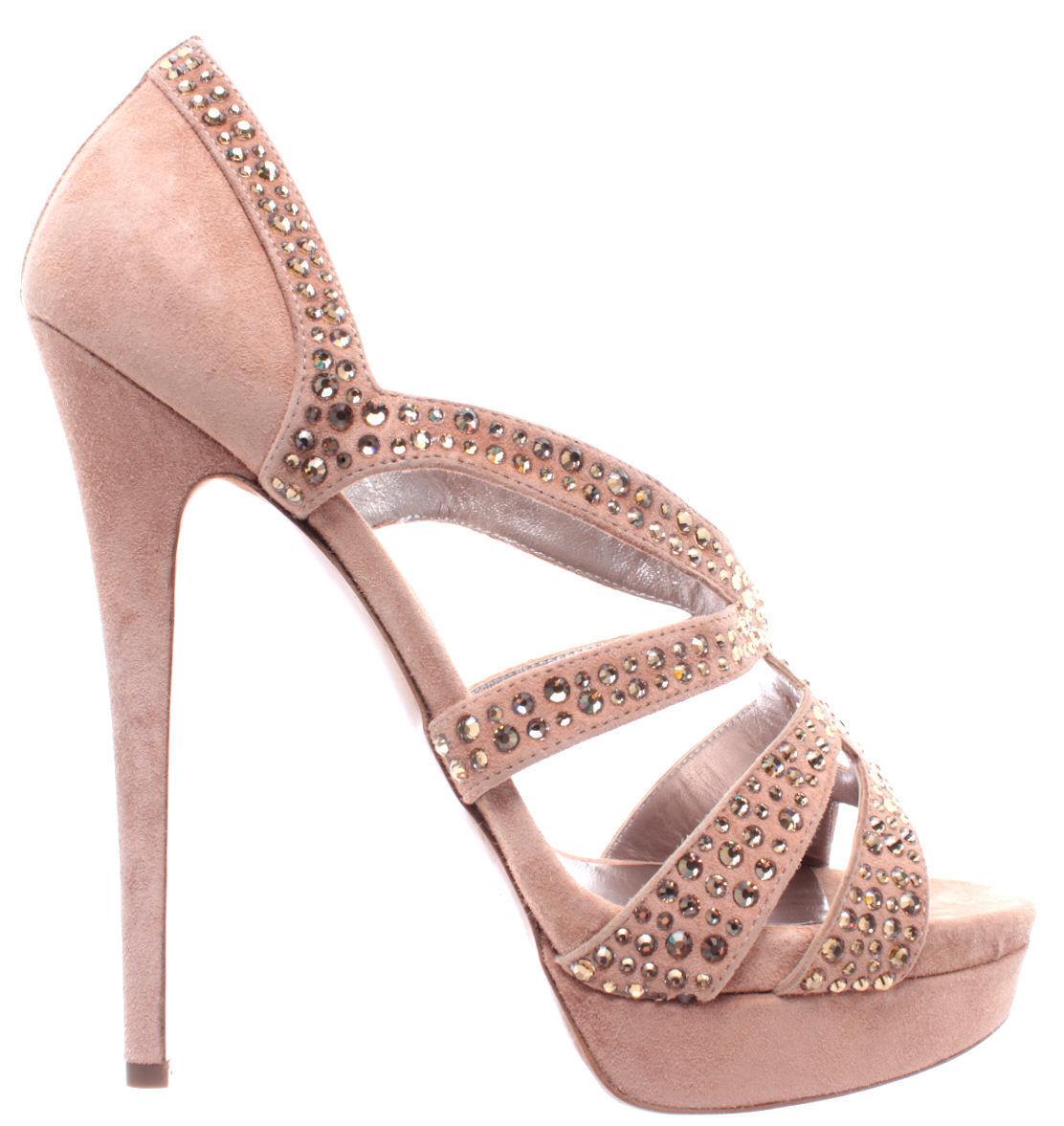 Chaussures Femmes Talons CASADEI Queen Suede Klio Klio Klio Beige Clair Strass Limited New 243d2b
