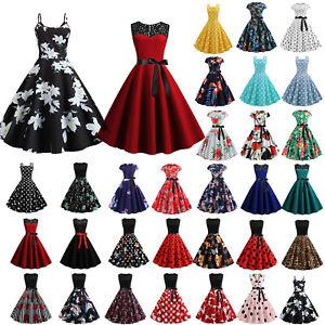 Damen-Rockabilly-Kleider-Petticoat-50er-Jahre-Vintage-Freizeit-Party-Skaterkleid