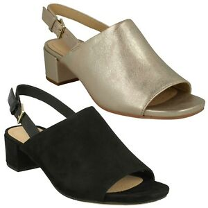ba9e6bb9ab2 LADIES CLARKS LEATHER SUEDE PEEP TOE SLINGBACK SUMMER SANDALS SHOES ...