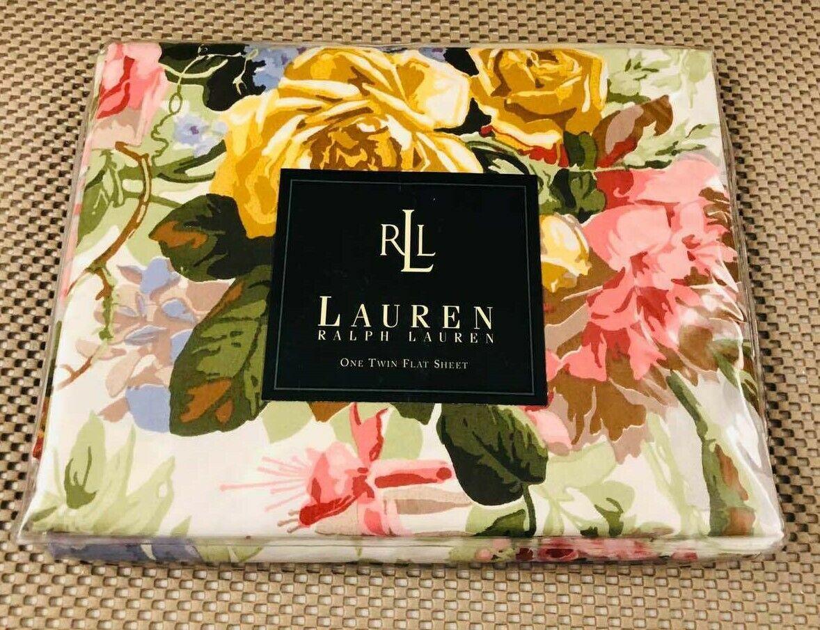 Rare Vintage Lauren by Ralph Lauren Pond View Twin Flat Sheet New
