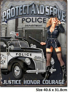 Police-Dept-40s-Ford-Hot-Rod-Tin-Metal-Sign-1721-Post-2-12-signs-15-flat-rate