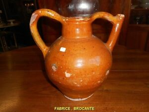 Art, Antiquités Cruche En Terre Vernissee