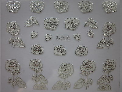 Fiori french manicure per SPOSA BIANCHI argento nail art stickers for BRIDE TJ