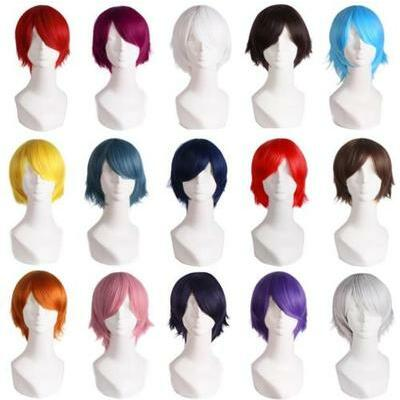 14 Colors Men Women Straight Short Full Wigs Party Cosplay Hair Wig Suit