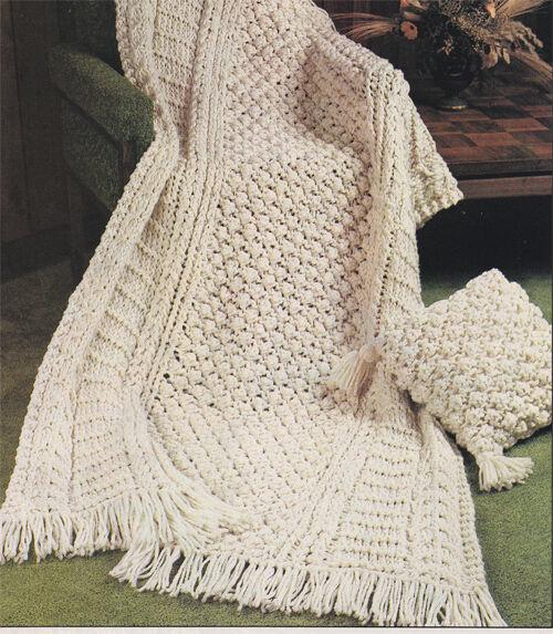 Quick Knit Super Bulky Aran style Blanket & Cushion Knitting pattern