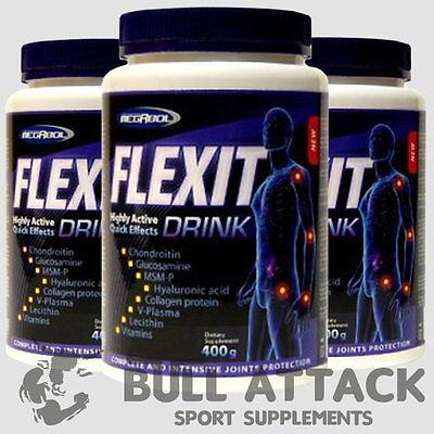 3x 400g Flexit - 80-120 Portionen - MSM Glucosamin Chondroitin Kollagen - Pulver