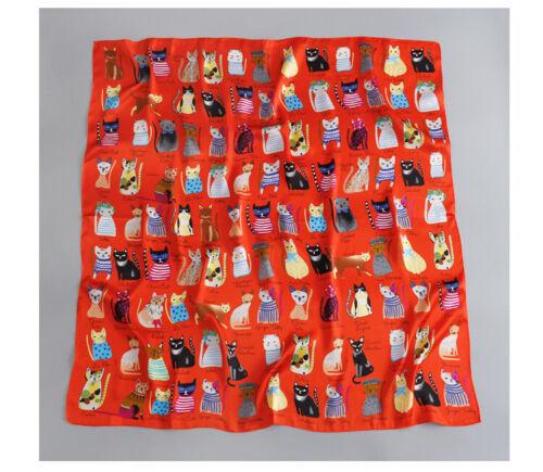 Women Fashion Square Scarf Cat Imprimer Cadeau soie foulards et Wrap Femme Rétro