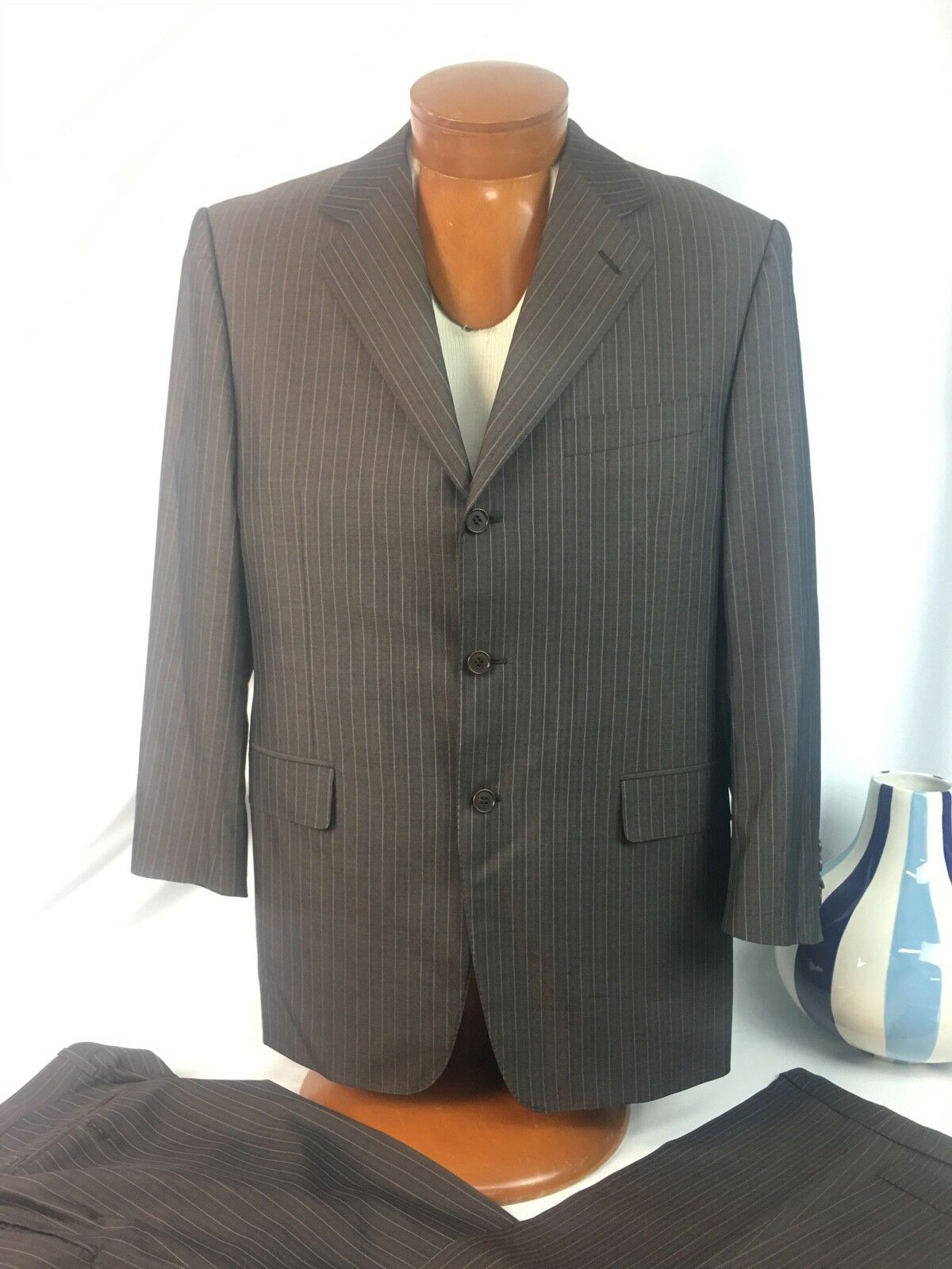 Canali  Stunning Brown Pinstripe Three Button Silk Wool 2 Pc. Suit 40R
