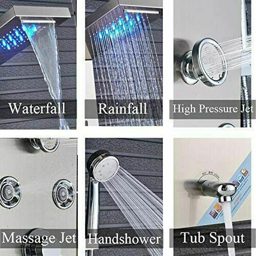 ELLO/&ALLO Shower Panel Tower System LED Rainfall Waterfall Shower with Body Jets