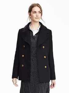 BANANA REPUBLIC $268 NAVY MELTON WOOL CLASSIC PEACOAT COAT XS | eBay