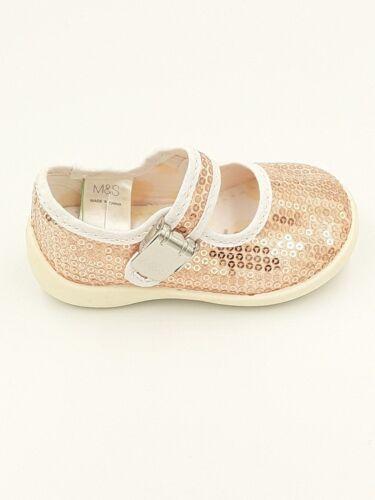 Filles m/&s Spring /& Summer Copper Sequin Toile Chaussures UK Nourrisson 4