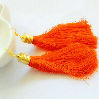 Woman Retro Vintage Fashion Long Tassel Fluorescent Color Dangle Long Earrings