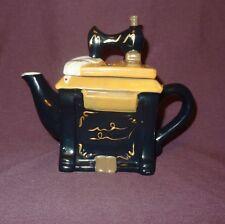 """Sewing Machine Tea Pot Ceramic Decorative Black 5"""""""