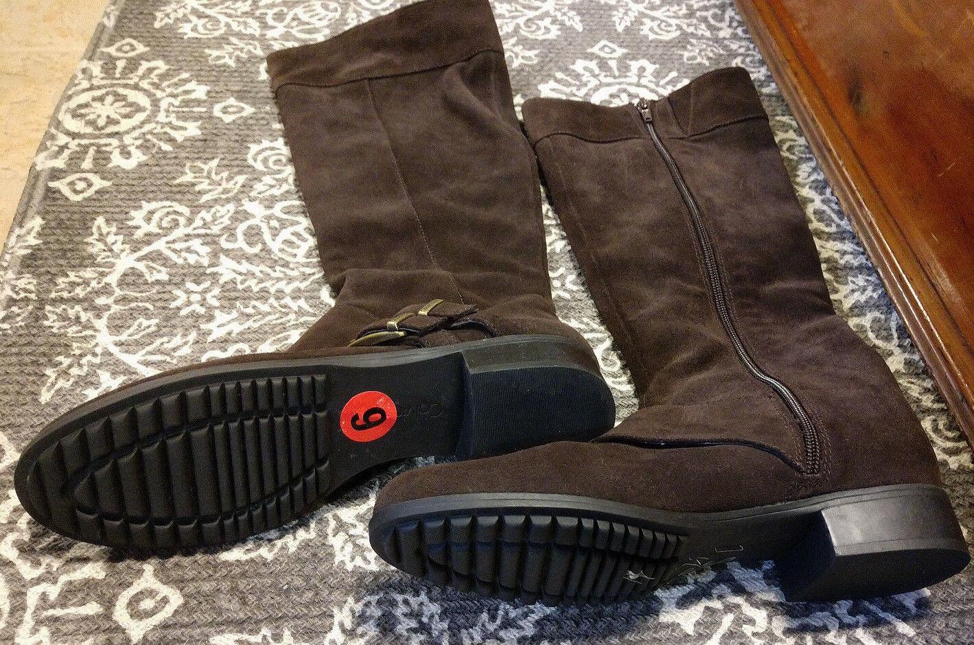Calvin Klein Chocolate Braun Espresso Suede Stiefel 6M Knee High Full New Full High Zip 86576f