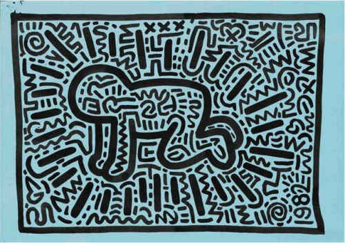 Keith Haring KH18 Abstract Contemporary Pop Art Figure Print Poster 11x14