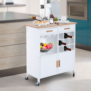 rolling kitchen utility trolley serving cart bamboo top w wine rack 46655324092 ebay. Black Bedroom Furniture Sets. Home Design Ideas