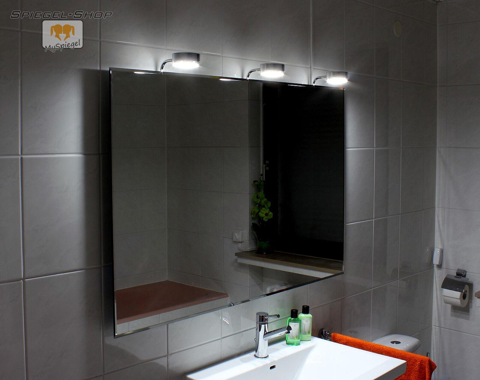 COTNAR LED LEUCHT BELEUCHTETER BAD SPIEGEL MIT STEILFACETTE 130x70CM 3 LAMPEN