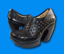 JOHN FLUEVOG 'Prepare Hi: Rappel' Black Leather Cut-Out Ankle Booties Boots Sz 6